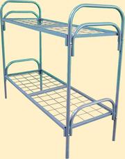 Кровать двухъярусная с лестницей, кровати металлические со сварной сетк